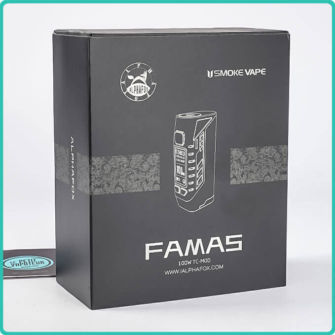 Packaging de la box famas 100W alphafox
